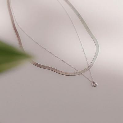 제이로렌 0N0922-1 볼드 베이직 뱀줄 실버목걸이(4mm)