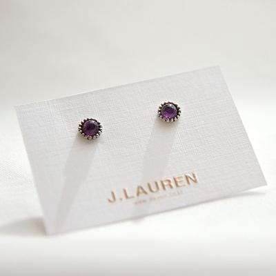 제이로렌 02M02823 2월탄생석 자수정 실버 귀걸이