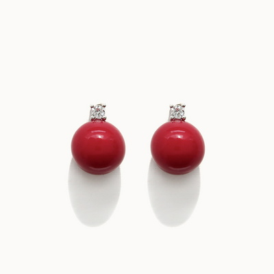 제이로렌 01M03108 빨간진주 큐빅 포스트 귀걸이