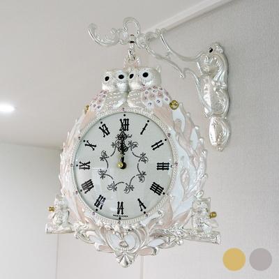 잉꼬 도금부엉이 양면시계 SUN-266