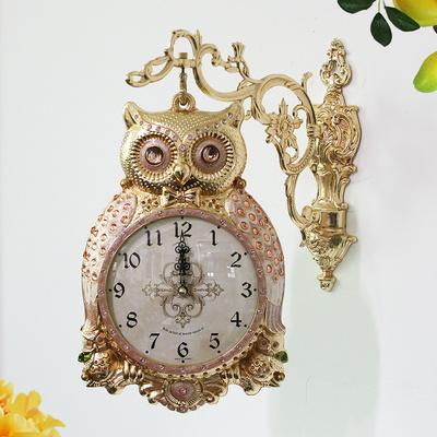 금도금 행운부엉이 양면시계 SUN-289