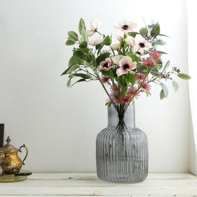 스트라이프보틀 유리꽃화병 그레이 (대)