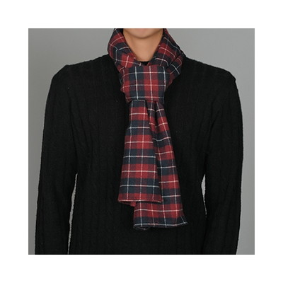 check cotton stole(red)