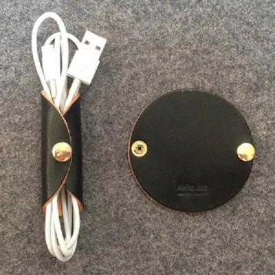 케이블 이어폰 가죽홀더 원형(블랙)케이블선정리