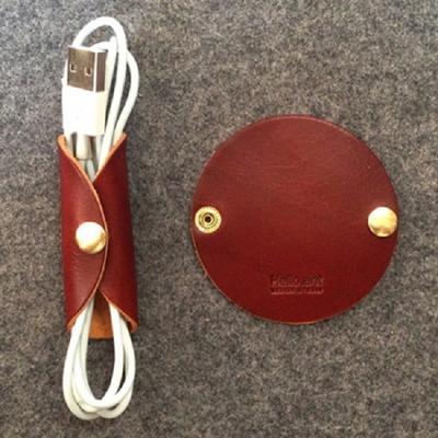 케이블 이어폰 가죽홀더 원형(브라운)케이블선정리