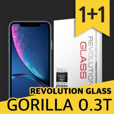 아이폰XR 레볼루션글라스 고릴라 0.3T 강화유리 2장/미국 고릴라 글라스