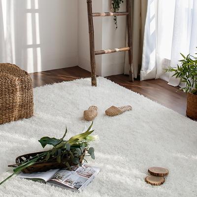 롱파일 포인트 가을 겨울 거실 샤기 장모 카페트 (140x200cm) (화이트)