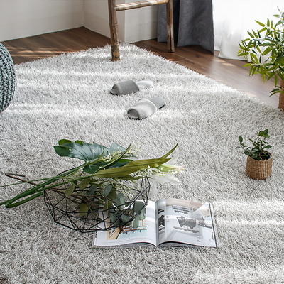 롱파일 포인트 가을 겨울 거실 샤기 장모 카페트 (170x230cm) (라이트 그레이)