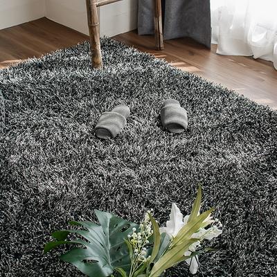 롱파일 포인트 가을 겨울 거실 샤기 장모 카페트 (140x200cm) (차콜 블랙)