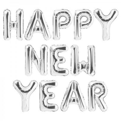 [원팩] 은박풍선세트 HAPPY NEW YEAR [실버] _partypang