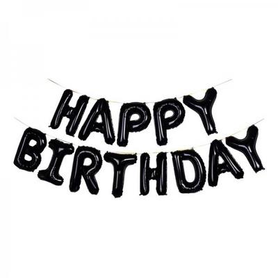(원팩) 은박풍선세트 HAPPY BIRTHDAY 블랙 _partypang