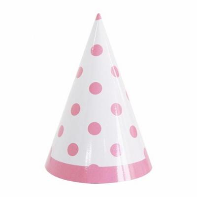 라인도트 핑크 고깔모자 6입 _partypang