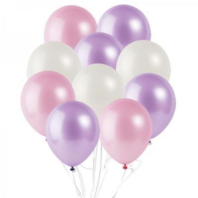 30cm 파티팡풍선 10입세트 핑크라일락 (풍선+컬링리본+양면테잎) _partypang