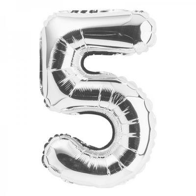 (원팩) 숫자 은박풍선 대 실버 5 _partypang
