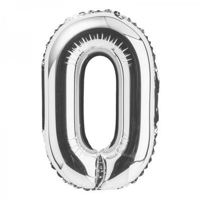 (원팩) 숫자 은박풍선 대 실버 0 _partypang
