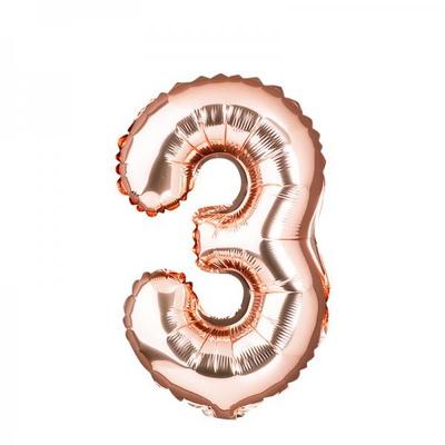 [원팩] 숫자 은박풍선 중 로즈골드 3 _partypang