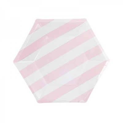 스트라이프 육각 파티접시 20cm 6입 [핑크] _partypang