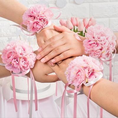 브라이덜샤워 꽃팔찌 핑크 _partypang