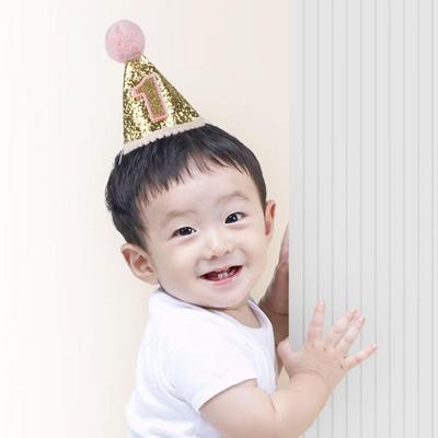솜방울 글리터 생일고깔모자 유아용 [첫돌 핑크] _partypang