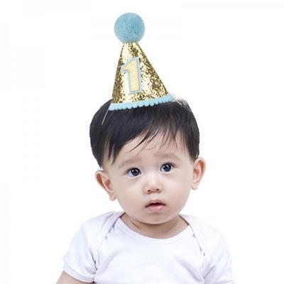 솜방울 글리터 생일고깔모자 유아용 [첫돌 블루] _partypang
