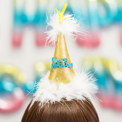 깃털 생일고깔머리띠 골드 _partypang