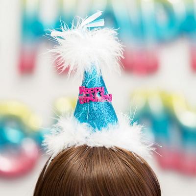 깃털 생일고깔머리띠 블루 _partypang