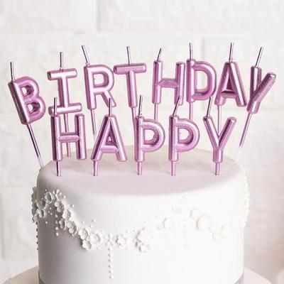 생일캔들 HAPPY BIRTHDAY [메탈릭핑크] _partypang