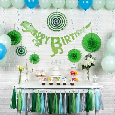 홈파티세트 HAPPY BIRTHDAY [공룡] (가랜드+풍선+페이퍼팬+태슬) _partypang