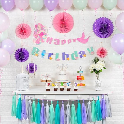 홈파티세트 HAPPY BIRTHDAY [인어공주] (가랜드+풍선+페이퍼팬+태슬) _partypang