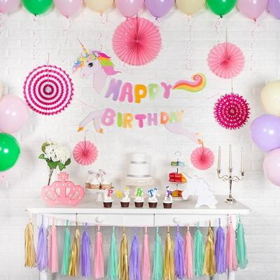 홈파티세트 HAPPY BIRTHDAY [유니콘] (가랜드+풍선+페이퍼팬+태슬) _partypang