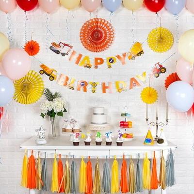 홈파티세트 HAPPY BIRTHDAY [중장비] (가랜드+풍선+페이퍼팬+태슬) _partypang