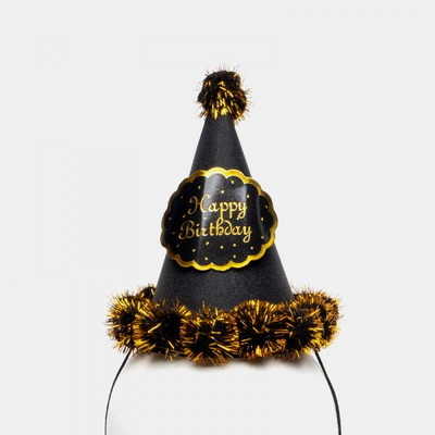 글리터 방울 생일고깔모자 소 [블랙] _partypang