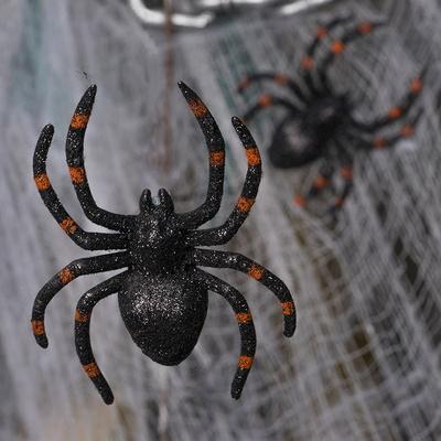 럭셔리할로윈 리얼장식 글리터 거미모형 10cm 2입 [오렌지] _partypang