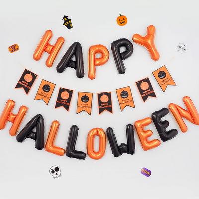 HAPPY HALLOWEEN [블랙앤오렌지] 은박풍선+이중펠트 가랜드 [호박] 세트 _partypang