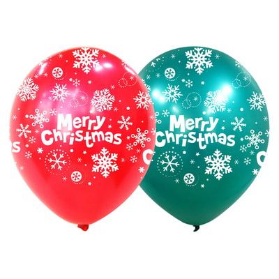 크리스마스풍선 30cm [전체인쇄 크리스마스 스노우 플레이크 펄혼합] 10입 _partypang