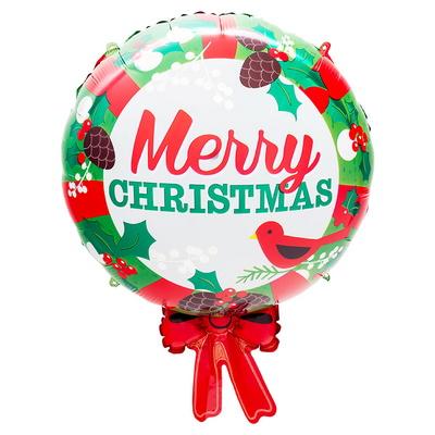 [원팩] 크리스마스 은박풍선 메리크리스마스 리본 50x65cm _partypang