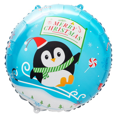 [원팩] 크리스마스 은박풍선 18인치 라운드 펭귄썰매 [블루] _partypang