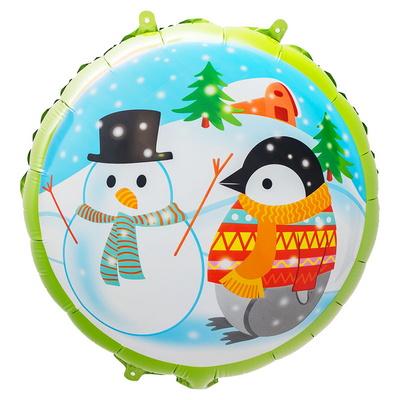 [원팩] 크리스마스 은박풍선 18인치 라운드 펭귄과 눈사람 _partypang