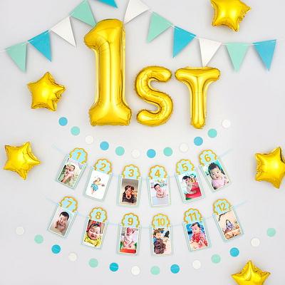 생일파티 장식세트 [첫돌 1st 포토프레임 블루] _partypang