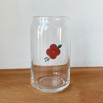 동백꽃 비어잔 유리컵