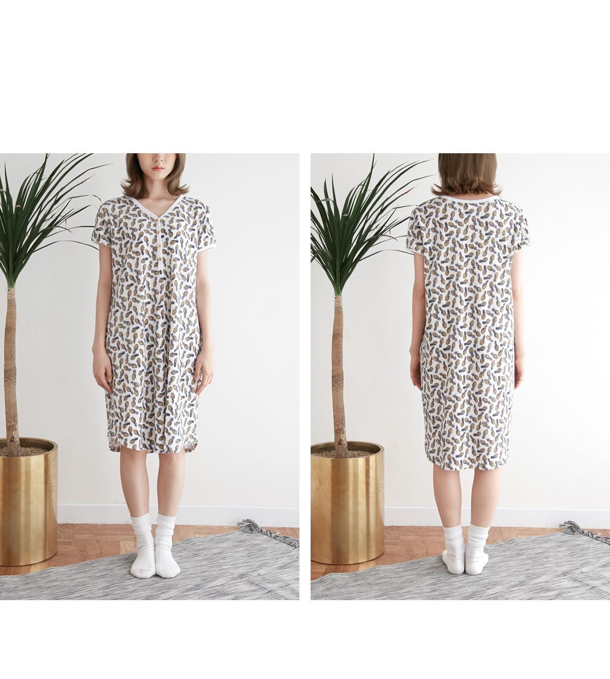 [여성실내복] 파인애플 면 여름원피스잠옷 - 바이메이비, 35,000원, 잠옷, 원피스잠옷