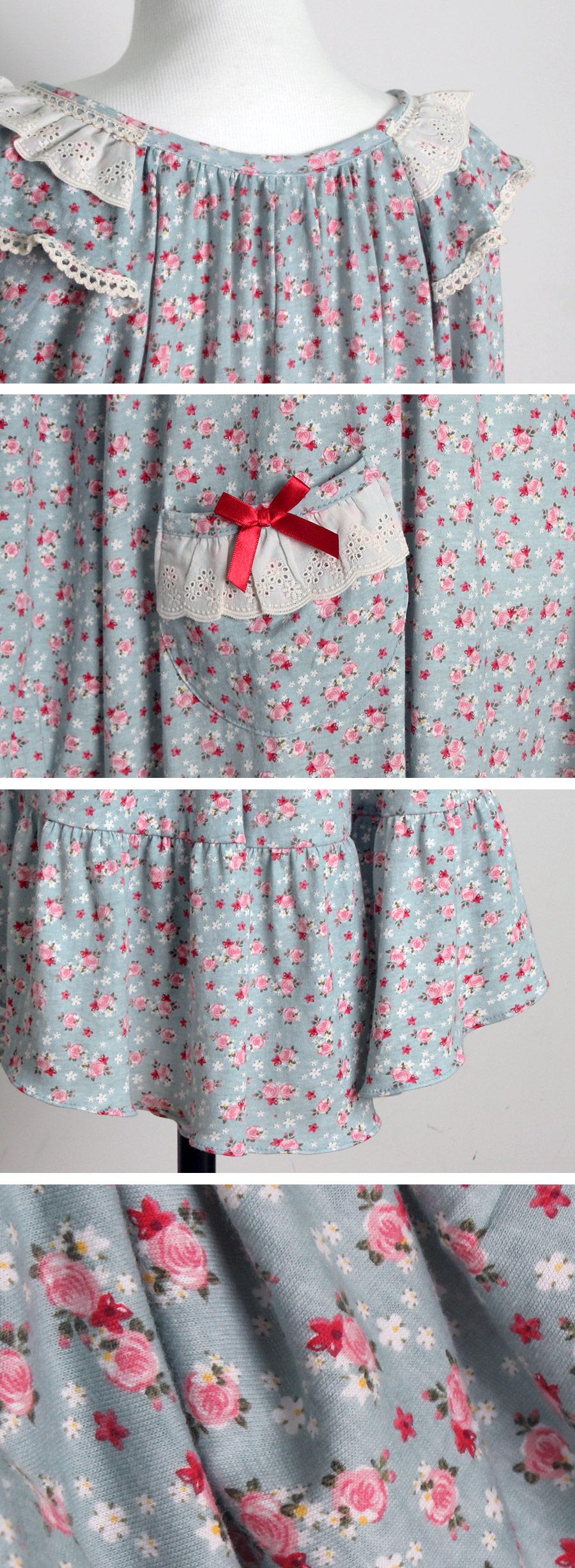 로즈 순면 홈웨어 원피스잠옷 - 바이메이비, 56,500원, 잠옷, 원피스잠옷