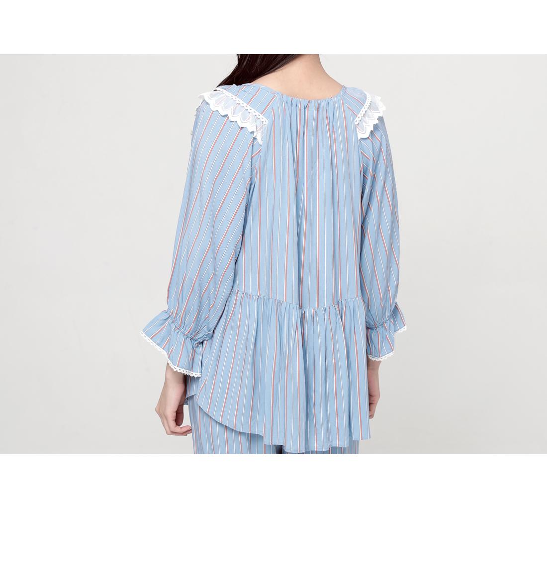로랑 스트라이프 레이온 여성 파자마 세트 - 바이메이비, 68,400원, 잠옷, 여성파자마
