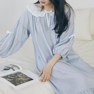 블루데이 모달 레이온 7부 홈웨어 원피스잠옷