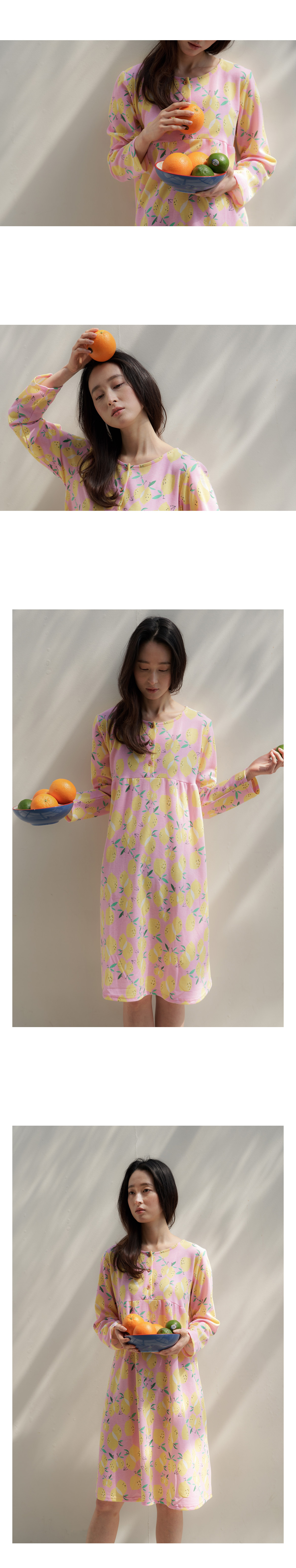 레몬 여성실내복 홈웨어 원피스잠옷 - 바이메이비, 22,800원, 잠옷, 원피스잠옷