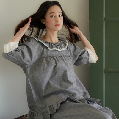 루나 체크 순면 여자 여름잠옷 파자마세트