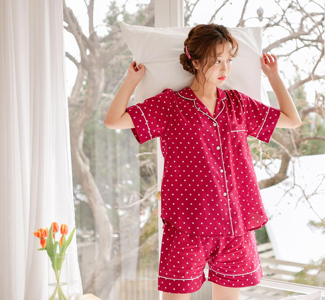 도트 면 셔츠 여자 여름잠옷 - 바이메이비, 58,000원, 잠옷, 여성파자마