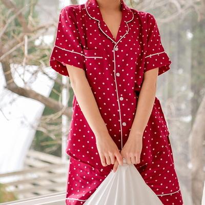 도트 면 셔츠 여자 여름잠옷