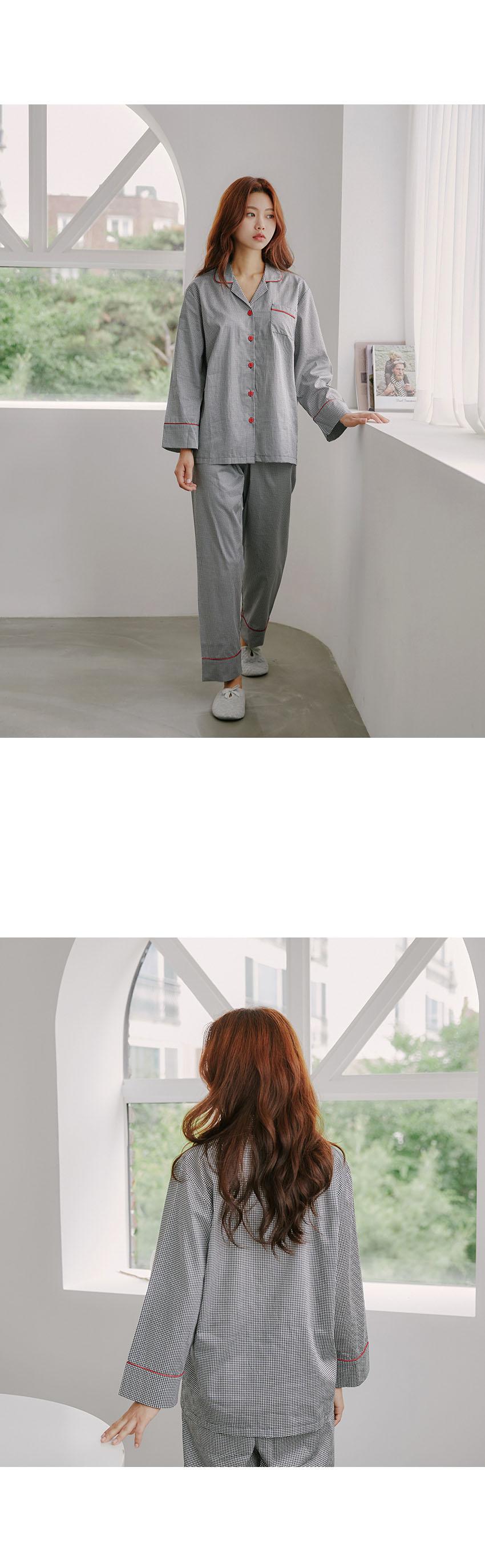 데일리 체크 순면 여자 셔츠잠옷 - 바이메이비, 68,800원, 잠옷, 여성파자마