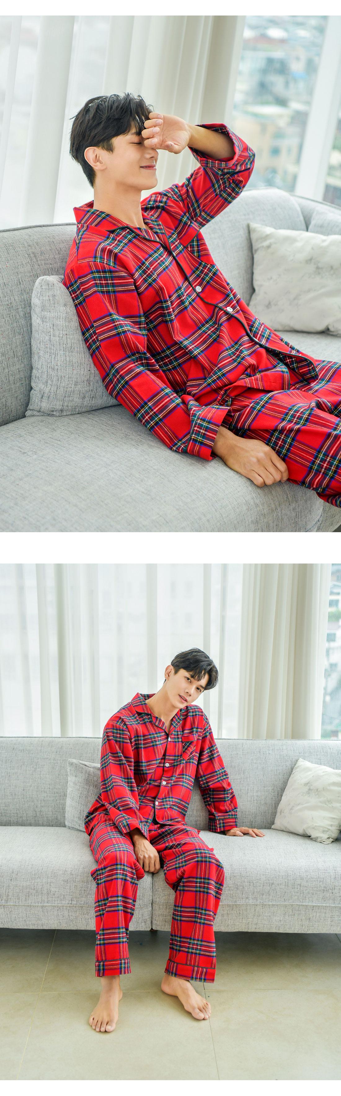 로니 체크 기모면 남자 겨울잠옷 파자마 - 바이메이비, 73,800원, 잠옷, 남성파자마